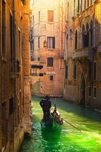 Venice Canal with Green Water