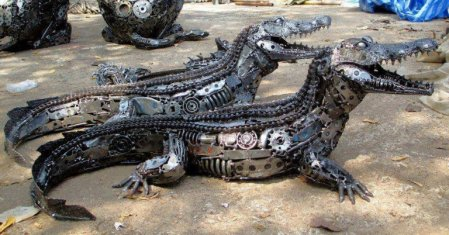Crocodile made from car parts